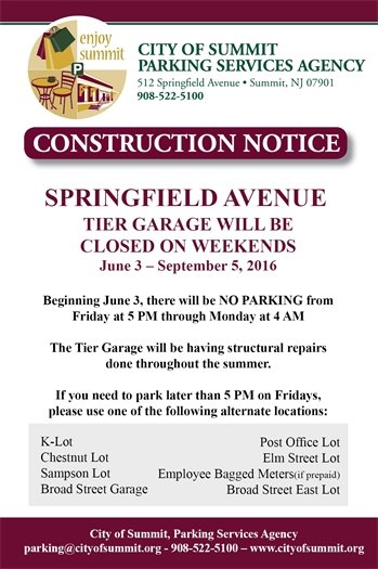 Springfield Avenue Tier Garage Closed on Weekends