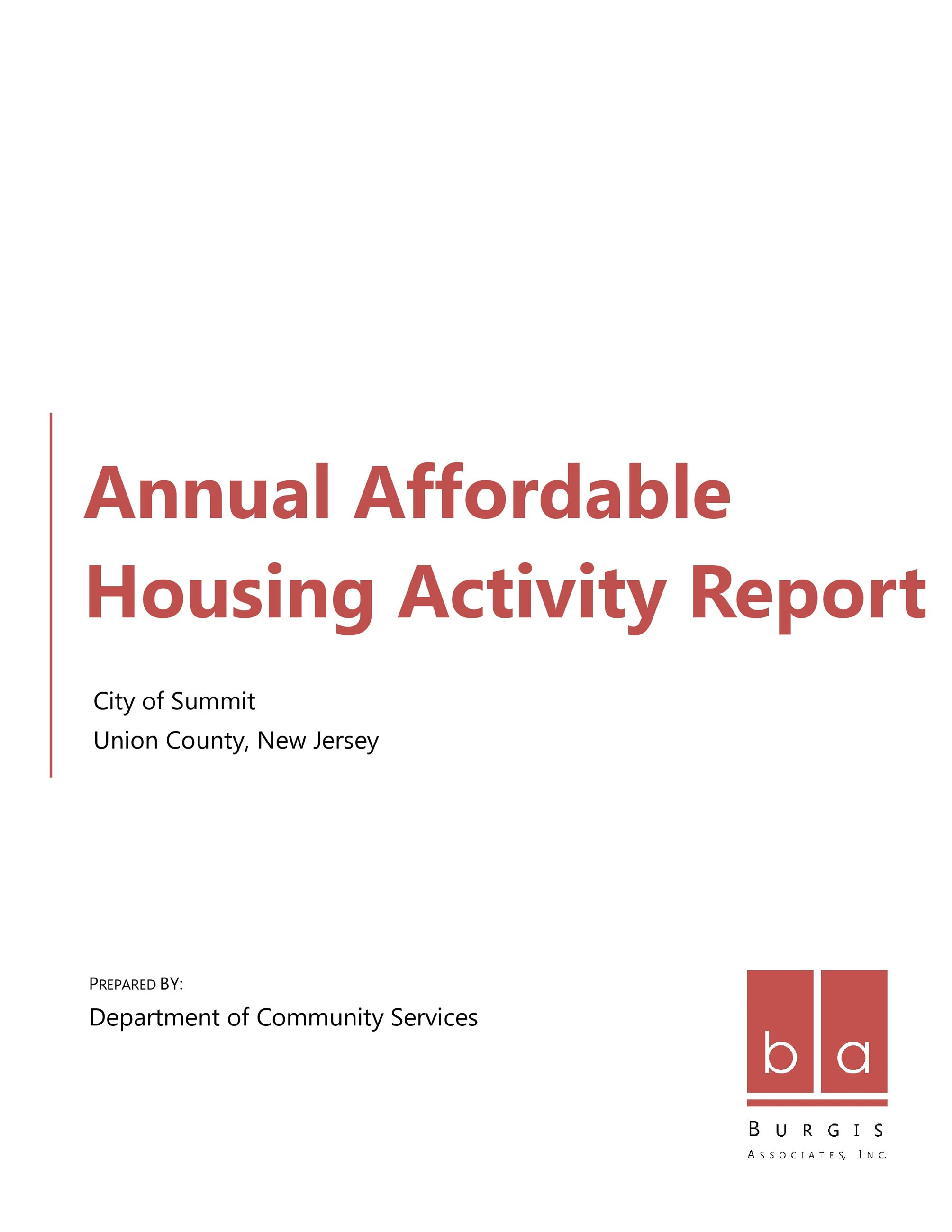 Summit Annual Housing Report Cover Page